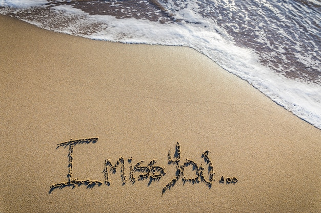 I miss you. loving lack written on sand Premium Photo