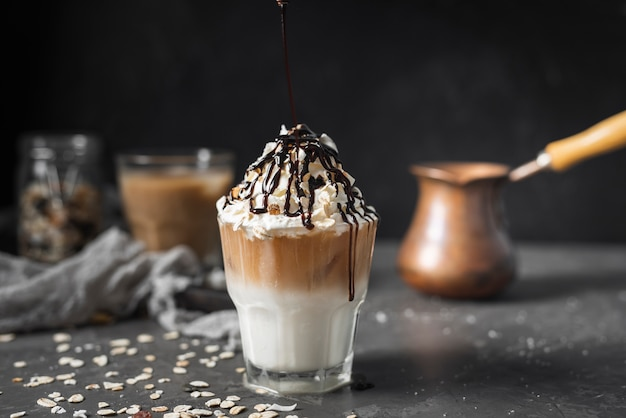 Ice beverage with cream and chocolate Free Photo