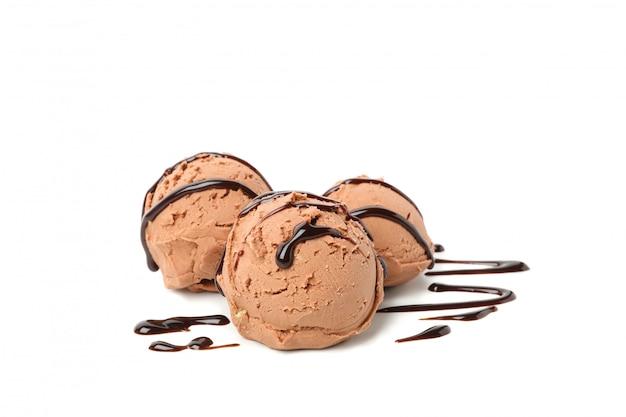 Ice cream balls and topping isolated Premium Photo