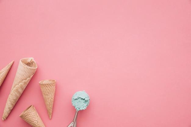 アイスクリーム、コーン、背景、copyspace 無料写真