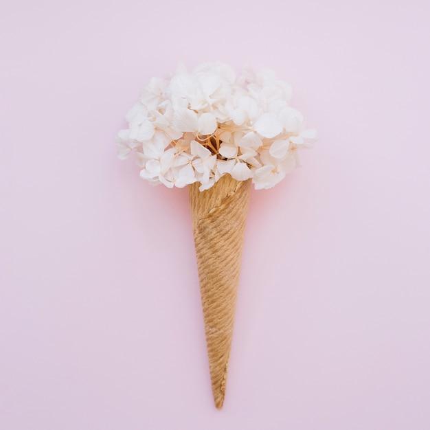 Ice-cream cone with flowers Free Photo