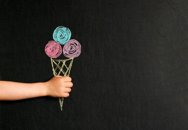 Ice cream drawn with crayons on the blackboard Premium Photo