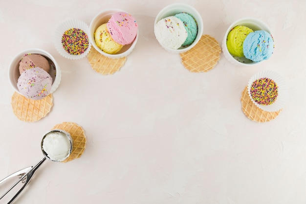 Ice cream scoops and waffles Free Photo