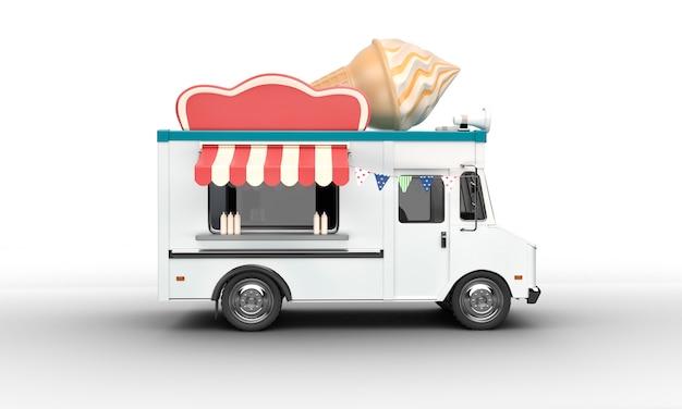 Ice cream van on white Premium Photo