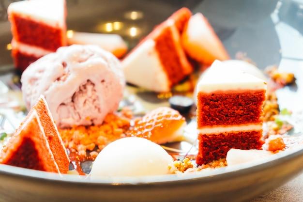 Ice cream with red velvet cake dessert Free Photo
