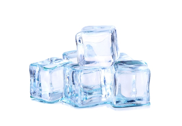 Ice cubes isolated on white Premium Photo