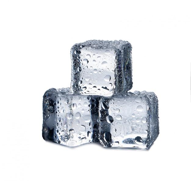 Ice cubes on white background Premium Photo