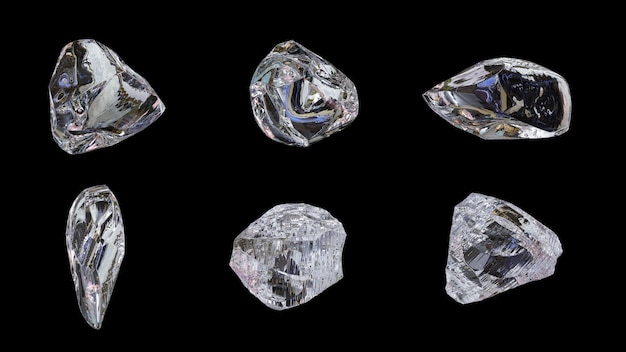 Ice , gem pack. 6 styles on black background. 3d . Premium Photo