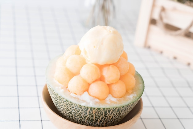 Ice melon bingsu, famous korean ice-cream Free Photo