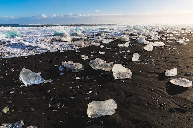 Ice pieces on black sand beach in iceland Premium Photo