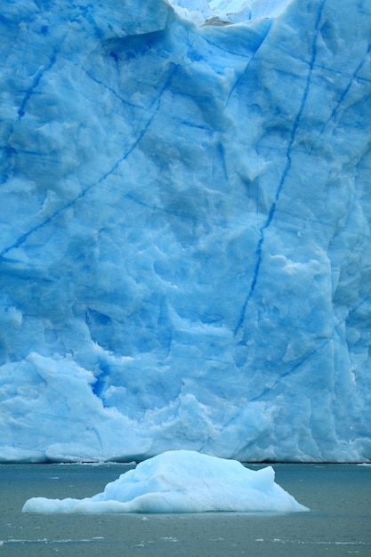 Iceberg floating on lake argentino with perito moreno glacier, el calafate, patagonia, argentina Premium Photo