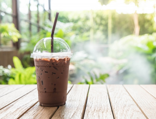 Iced chocolate in cafe Free Photo