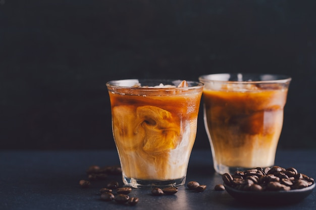 Iced coffee in glasses Free Photo