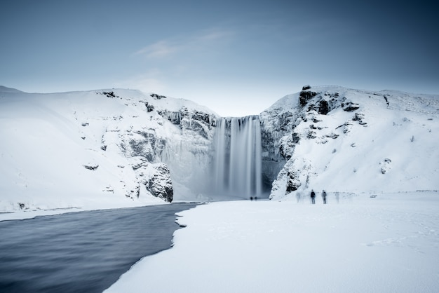 Icelandic frozen waterfall Premium Photo