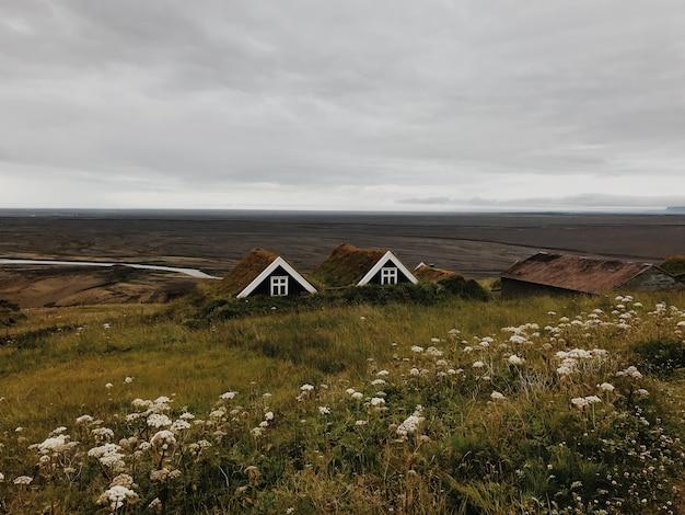 Исландские дома с видом на долину Premium Фотографии