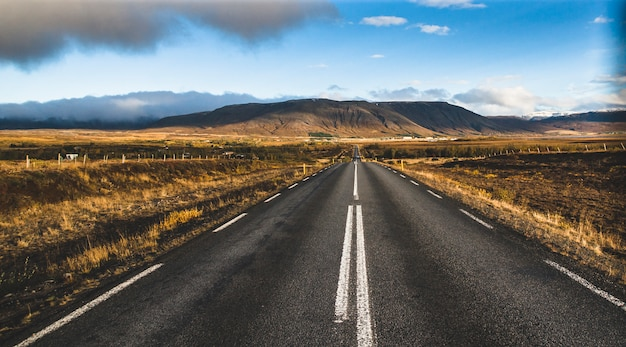 Icelandic lonely road in wild territory with no one in sight Premium Photo