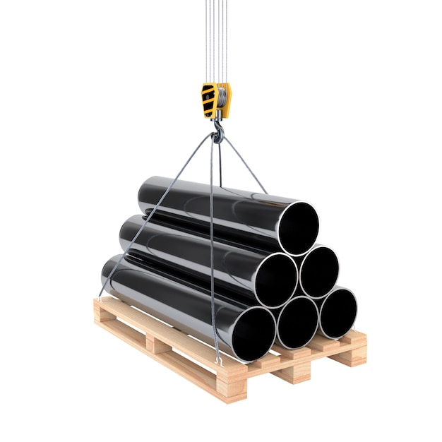 Icon pipe on a pallet with a crane hook isolated on white background. 3d illustration. Premium Photo