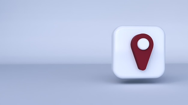 Icon red pin with white background. 3d rendering Premium Photo