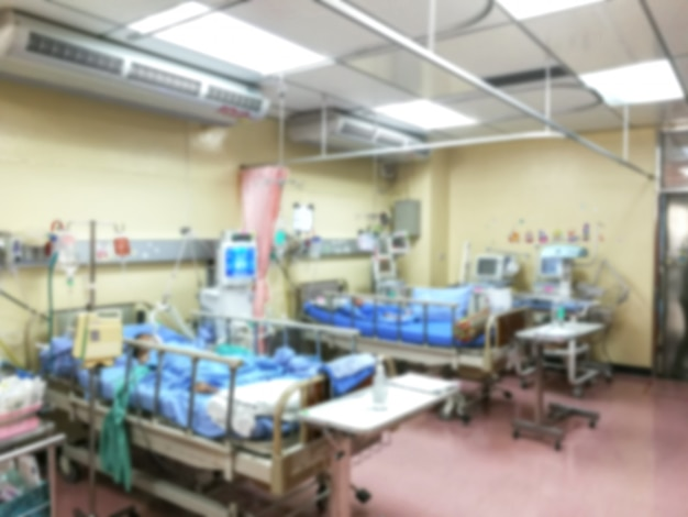 Icu room patients crisis ward lying in bed Premium Photo