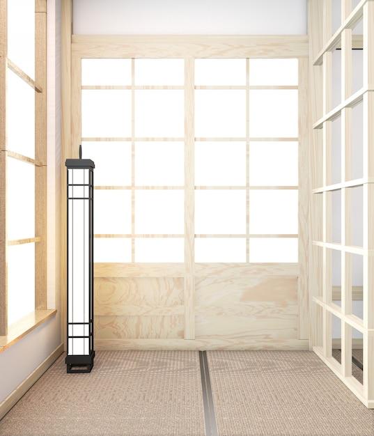 Idea of empty room wooden japanese minimal original and tatami mat floor. 3d rendering Premium Photo
