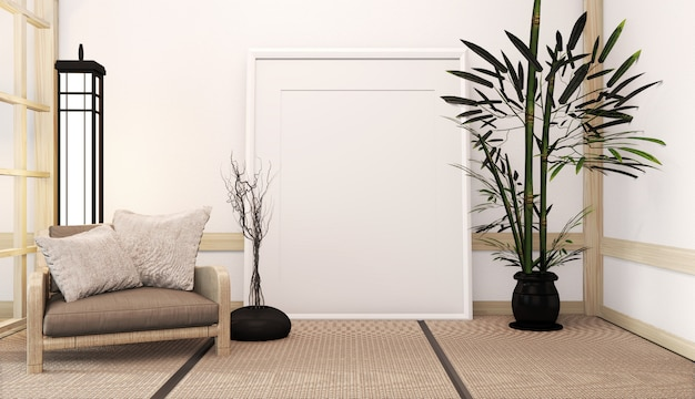 Idea of japanese living room with lamp, frame and armchair, white wall on floor tatami. 3d rendering Premium Photo