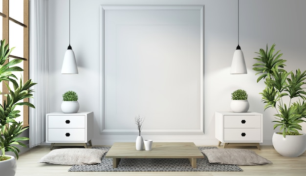 Idea of japanese living room with lamp, frame, black low table in room white wall on floor wooden. 3d rendering Premium Photo
