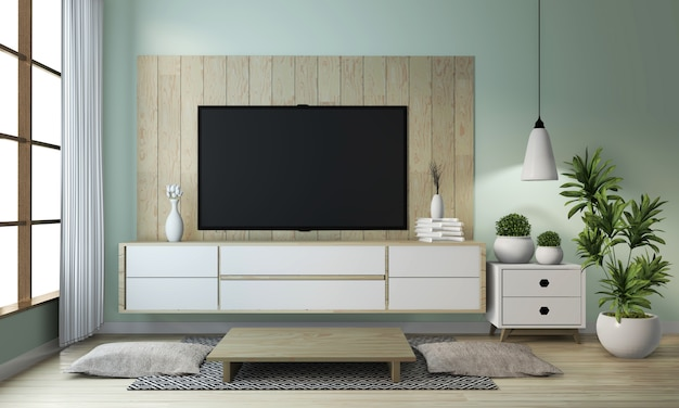 Idea of mock up cabinet wooden on modern zen room japanese style Premium Photo