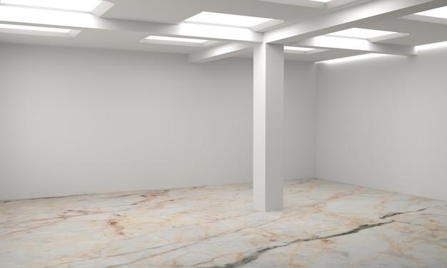 흰색 빈 스칸디나비아 룸 인테리어의 아이디어. 배경 인테리어. 홈 북유럽 인테리어. 3d 일러스트 프리미엄 사진