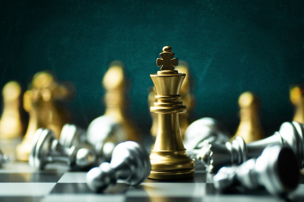 Idea strategy and confidential  competition business concept, king chess pieces on board Premium Photo