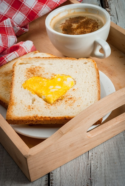 Idea for valentine's day, romantic breakfast Premium Photo