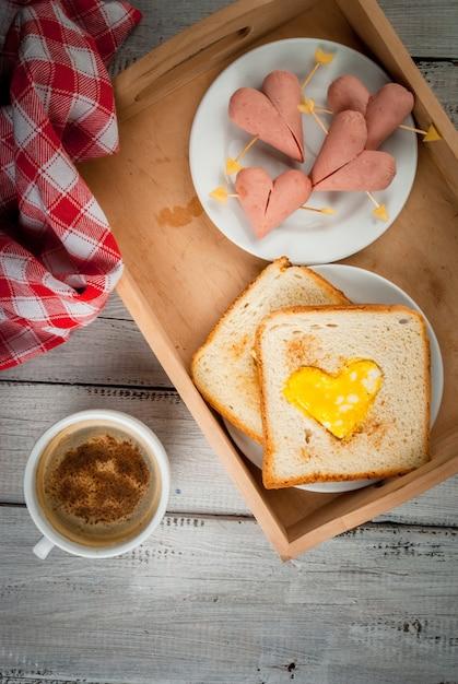 Idea for valentine's day, romantic breakfast Premium Photo