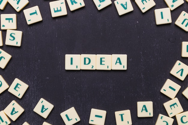 Idea word arranged with scrabble letters Free Photo