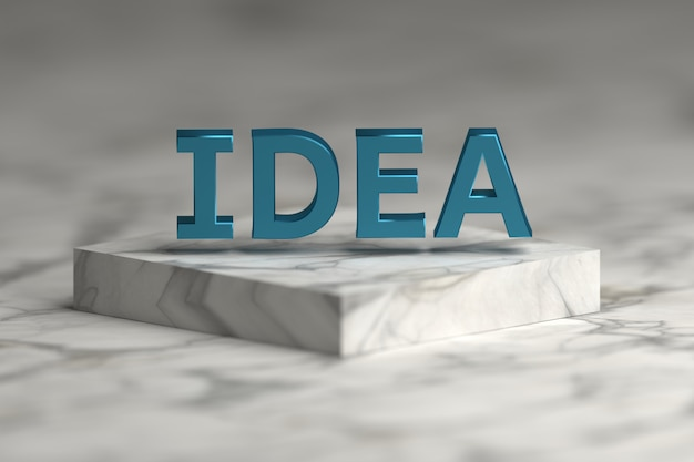 Idea word with blue shiny metallic texture over pedestal podium made of marble. Premium Photo