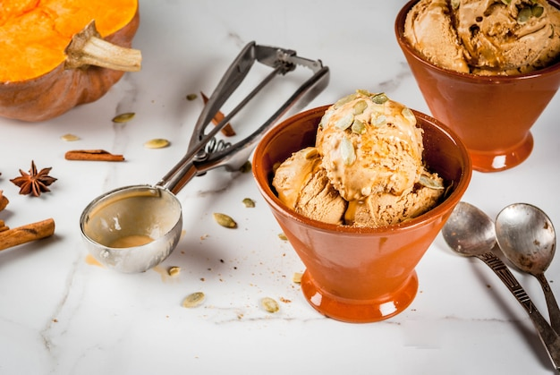 Ideas for autumn desserts, recipes from pumpkins. pumpkin pie ice cream gelato in ceramic bowls, with maple syrup, pumpkin seeds, cinnamon and anise stars, on a white marble table. copy space Premium Photo