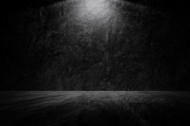 Старая гранж темная стена с ies светло-черный серый цемент стены пол текстура фон Premium Фотографии