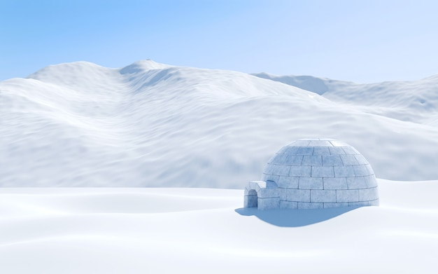 Igloo isolated in snowfield with snowy mountain , arctic landscape scene, 3d rendering Premium Photo
