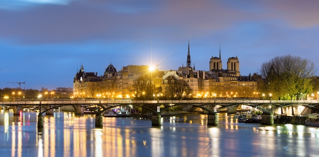 Ile de la cite and notre dame de paris cathedrale , france Premium Photo
