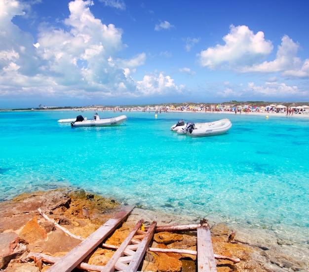 Illetes beach in formentera island in summer Premium Photo