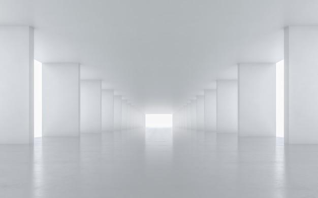 Illuminated corridor interior design. 3d rendering. Premium Photo