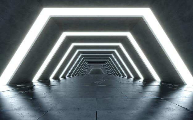 照らされた廊下のインテリアデザイン。将来のコンセプト。 3dレンダリング Premium写真