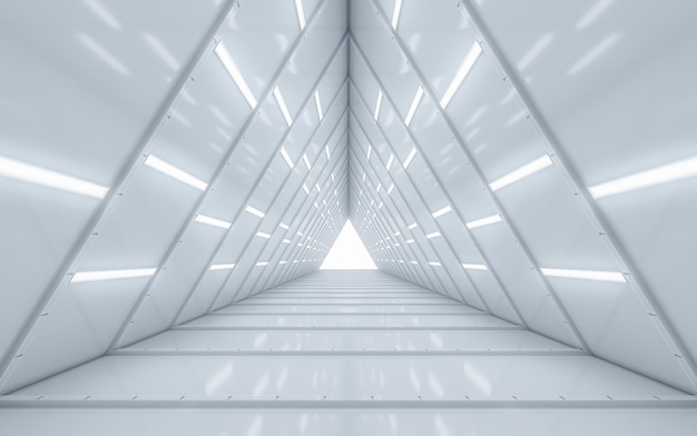 Illuminated corridor interior design Premium Photo