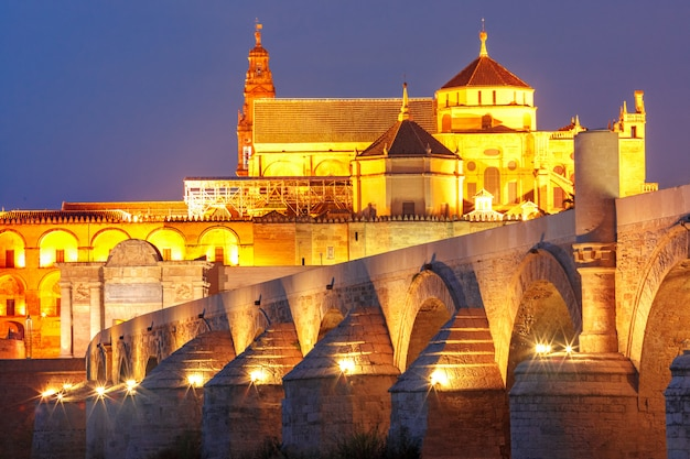 Illuminated great mosque mezquita, cordoba, spain | Premium Photo
