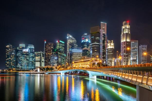 Illuminated skyscrapers at night Free Photo