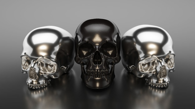 Illustration of black skull collection. 3d rendering Premium Photo