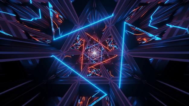 Illustrazione di uno sfondo cosmico con luci laser al neon arancioni Foto Gratuite