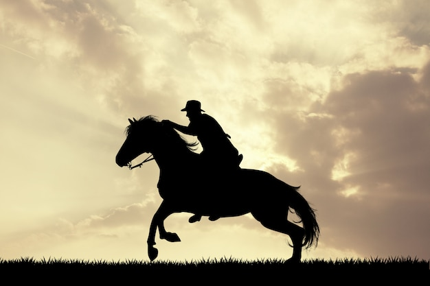 Illustration of man horseback at sunset Premium Photo