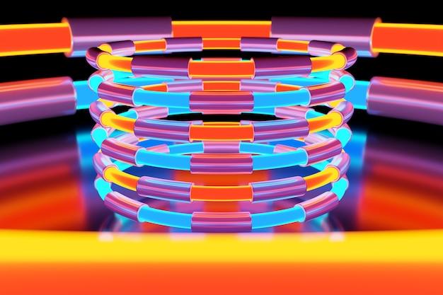 Иллюстрация неонового красочного шара светит своими лучами в разных направлениях на светлом фоне. Premium Фотографии