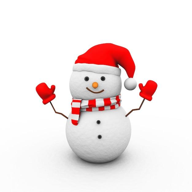 Иллюстрация снеговика в красных перчатках, шляпе и шарфе, изолированные на белом фоне Бесплатные Фотографии