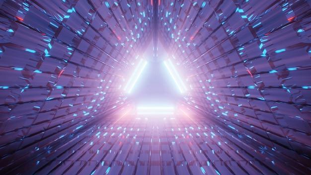 Иллюстрация треугольного коридора из фиолетовых и синих линий Бесплатные Фотографии