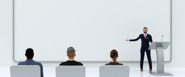 흰색 배경에 사람들 앞에서 비즈니스 프레젠테이션의 그림, 3d 렌더링 프리미엄 사진